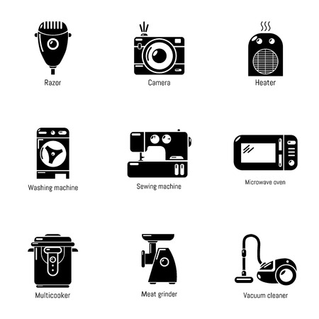 Retro icons set. Simple set of 9 retro vector icons for web isolated on white background Ilustração