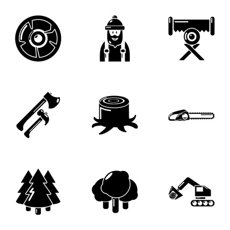 Logging icons set. Simple set of 9 logging vector icons for web isolated on white background