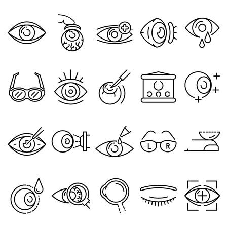 Eyeball icon set, outline style