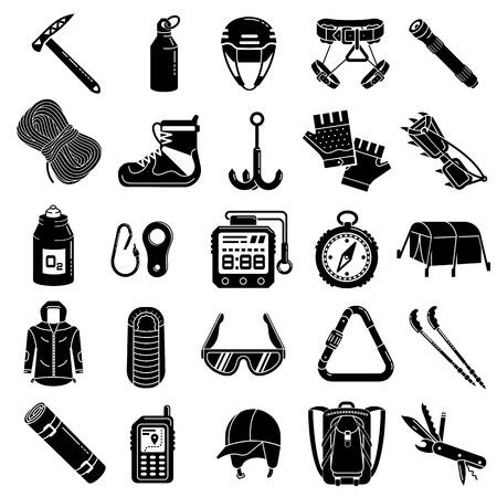 Mountaineering equipment icon set, simple style Ilustrace
