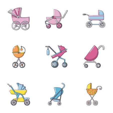 Baby stroller icons set, flat style