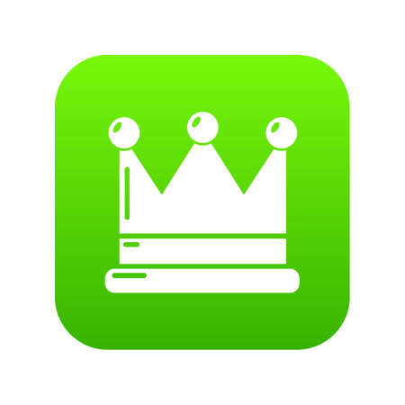 Crown icon green vector isolated on white background