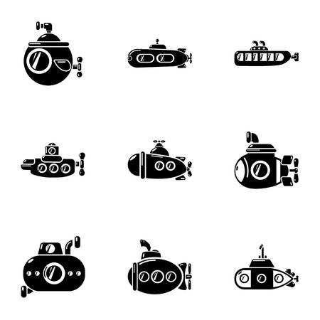 Motorboot-Icons gesetzt. Einfacher Satz von 9 Motorbootvektorikonen für das Netz lokalisiert auf weißem Hintergrund Vektorgrafik