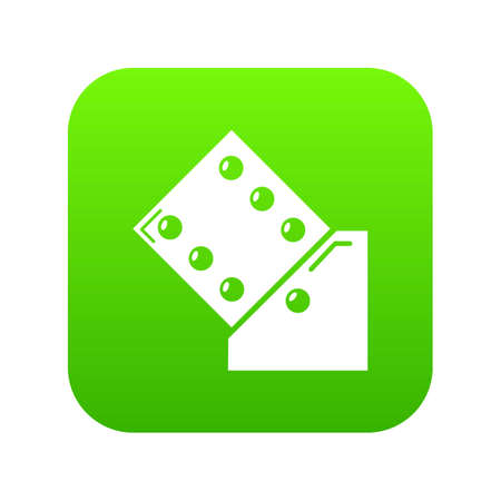 Dice icon green vector isolated on white background