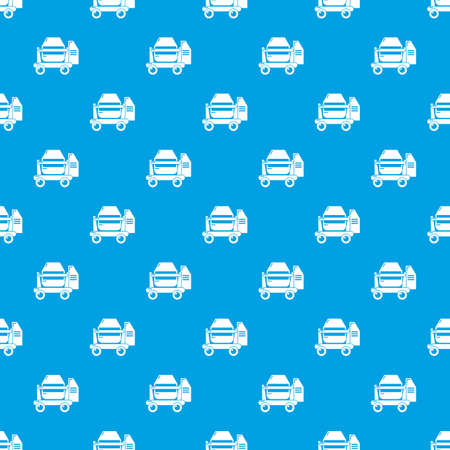 Concrete mixer pattern vector seamless blue repeat for any use