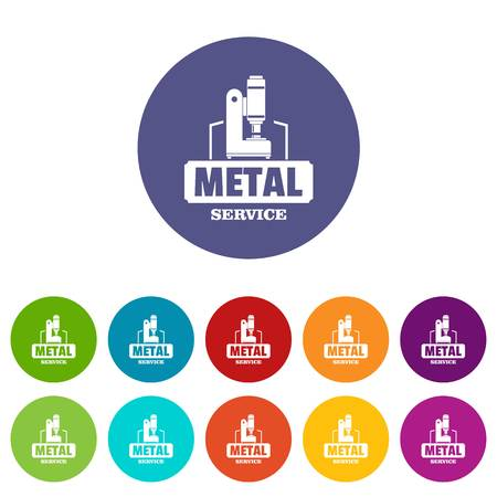 Metal service icons set vector color Illustration