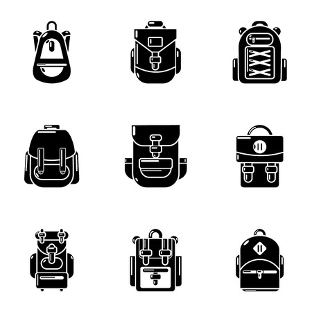 Knapsack icons set. Simple set of 9 knapsack vector icons for web isolated on white background