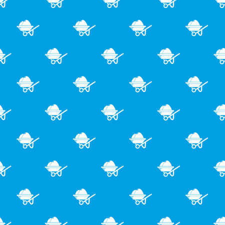 Wheelbarrow pattern vector seamless blue repeat for any use Vettoriali