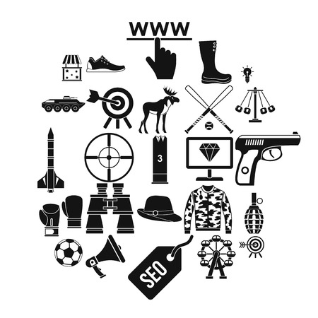 Target icons set. Simple set of 25 target vector icons for web isolated on white background