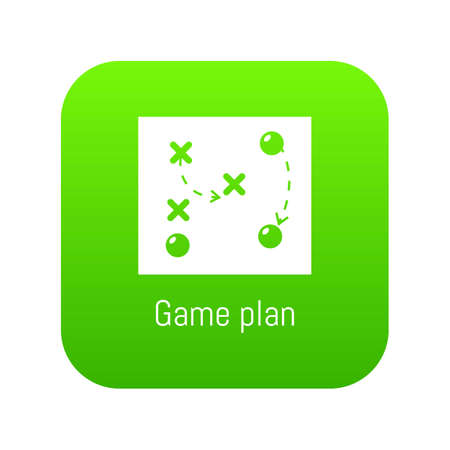 Game plan icon green vector isolated on white background Ilustrace
