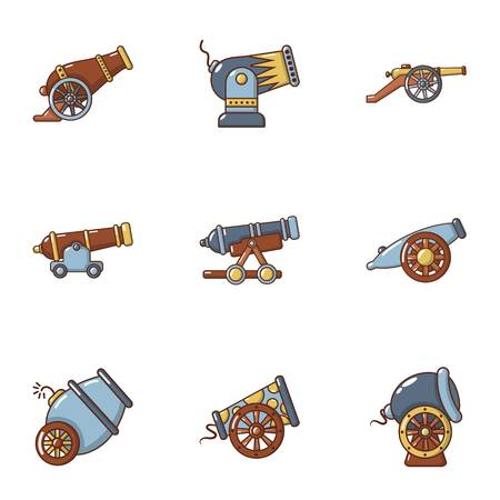 Cannon weapon icons set. Flat set of 9 cannon weapon vector icons for web isolated on white background