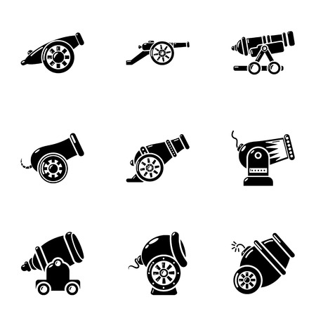 Artillery unit icons set. Simple set of 9 artillery unit vector icons for web isolated on white background Illustration