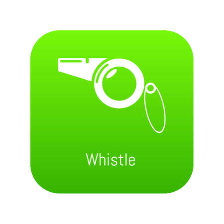 Whistle icon green vector isolated on white background