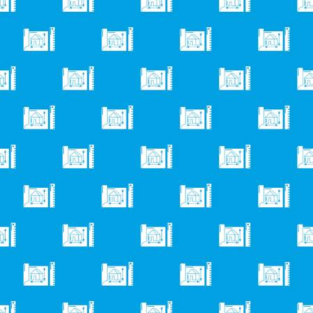 House plan pattern vector seamless blue Illustration