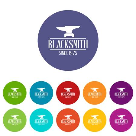 Master blacksmith icons set vector color Illustration