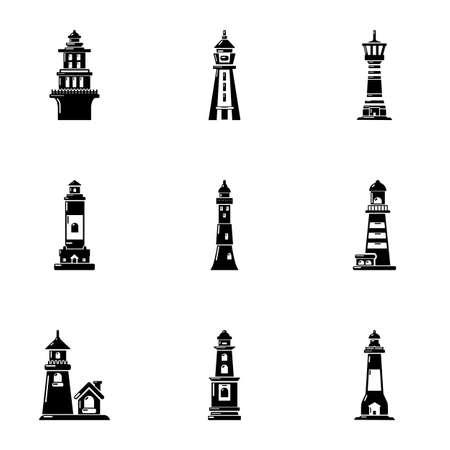 Icone del segno di navigazione impostate. Un semplice set di 9 icone vettoriali del segno di navigazione per il web isolato su sfondo bianco