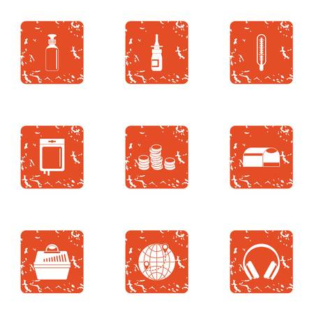 Finance sector icons set, grunge style
