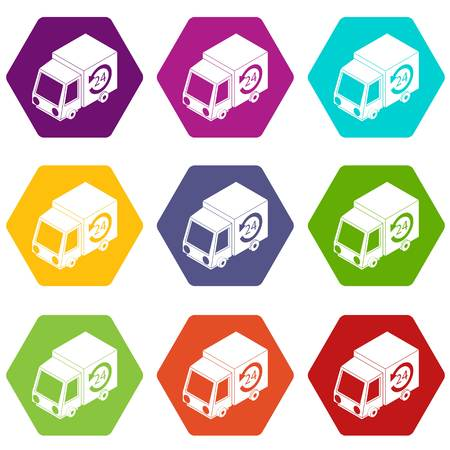 24 hour delivery icons set 9