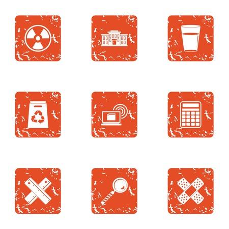 Polymer icons set, grunge style Stock Photo