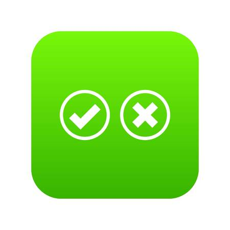 Tick and cross selection icon digital green