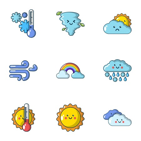 Winter season icons set, cartoon style