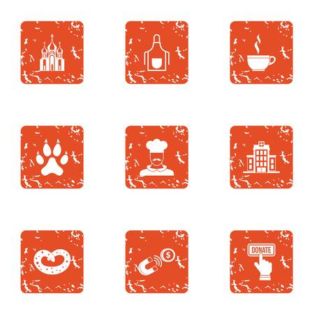 Compensation icons set, grunge style Stock Photo