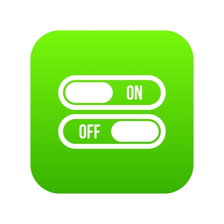 Button on and off icon digital green