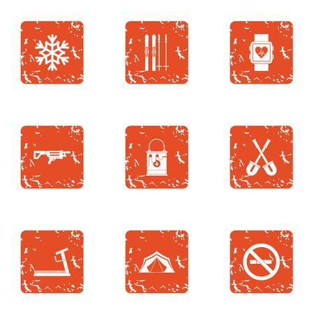 Sporting body icons set, grunge style