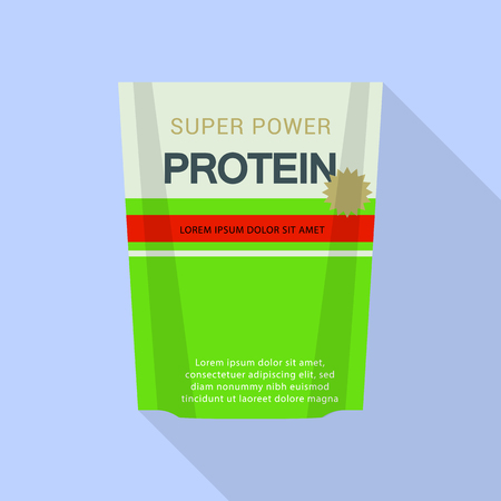 Super power protein pack icon, flat style