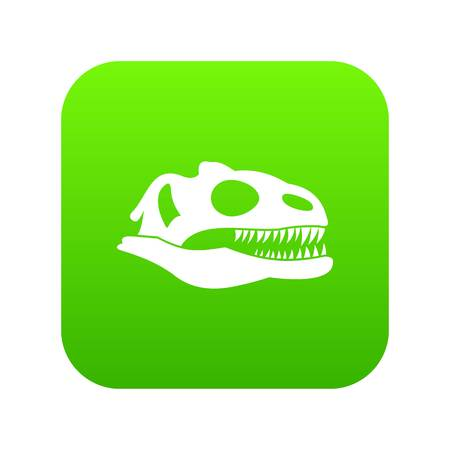 Skull of dinosaur icon digital green