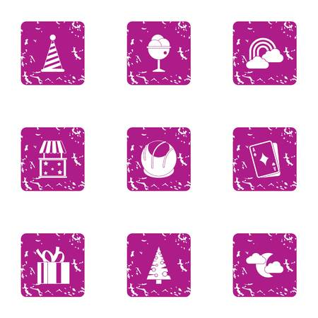 Winter prank icons set, grunge style Stock Photo
