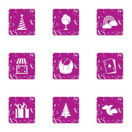 Winter prank icons set, grunge style Imagens