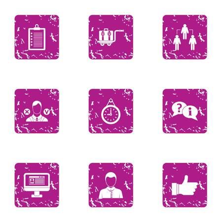 Lending icons set, grunge style Stock Photo