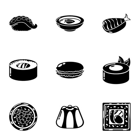 Japan sushi icons set, simple style Archivio Fotografico