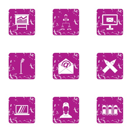 Insider information icons set, grunge style