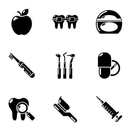 False tooth icons set. Simple set of 9 false tooth vector icons for web isolated on white background