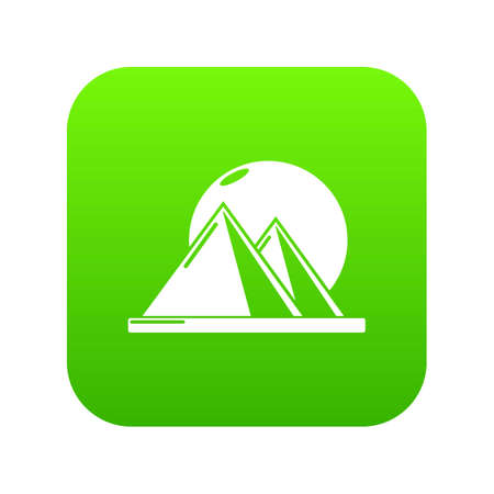 Pyramid egypt icon green vector