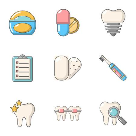 Artificial tooth icons set. Flat set of 9 artificial tooth vector icons for web isolated on white background Stock Illustratie