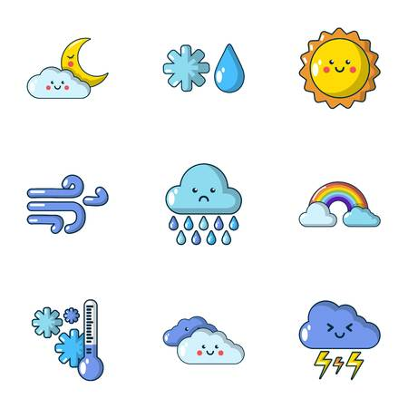 Weather dilemma icons set. Flat set of 9 weather dilemma vector icons for web isolated on white background