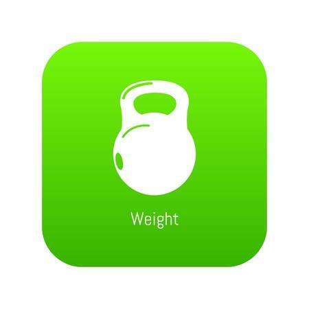 Kettlebell icon green vector
