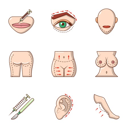 Sexy body icons set, cartoon style