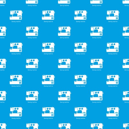 Sewing machine pattern vector seamless blue repeat for any use