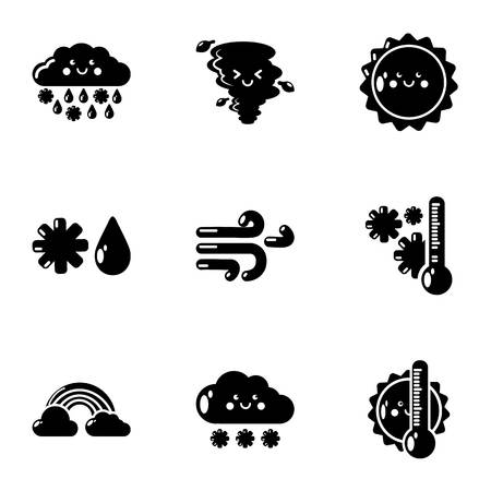 Weatherboard icons set. Simple set of 9 weatherboard vector icons for web isolated on white background Illustration