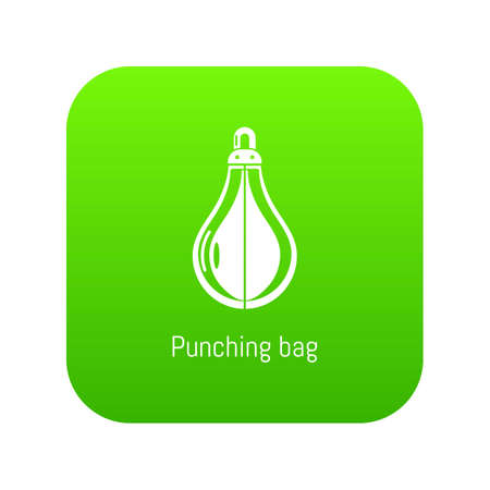 Punching bag icon green vector isolated on white background Illustration