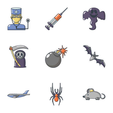 Deadly business icons set. Cartoon set of 9 deadly business vector icons for web isolated on white background