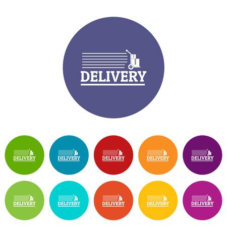Delivery post icons set vector color