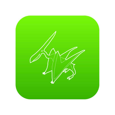 Pterodactyl icon green vector