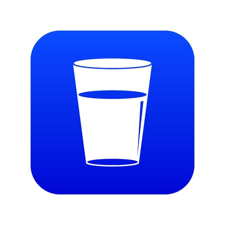 Glass water icon digital blue