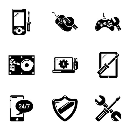 Personal computer icons set. Simple set of 9 personal computer vector icons for web isolated on white background