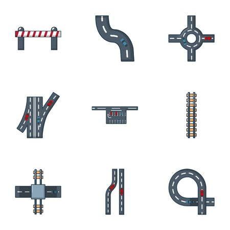 Driveway icons set. Flat set of 9 driveway vector icons for web isolated on white background